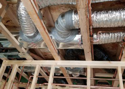 new construction home duct work, infloor heat, geothermal, gas lines, garage heater, exhaust bath fans