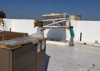 rooftop unit and make up unit installed and craned 3